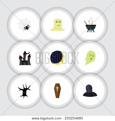 Flat Icon Halloween Set Of Terrible Halloween, Casket, Tomb And Other Vector Objects