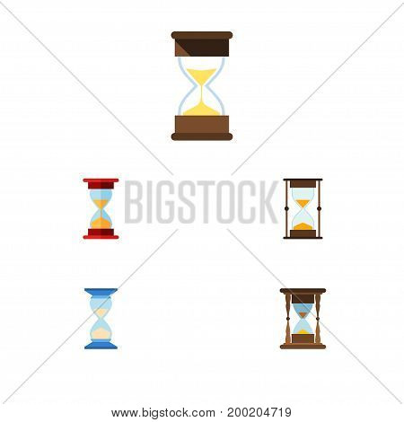 Flat Icon Sandglass Set Of Waiting, Minute Measuring, Measurement And Other Vector Objects