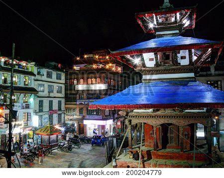 Durbar Square in Kathmandu, Nepal, october 4, 2013: Rush on the Kathmandu's Durbar Square at night
