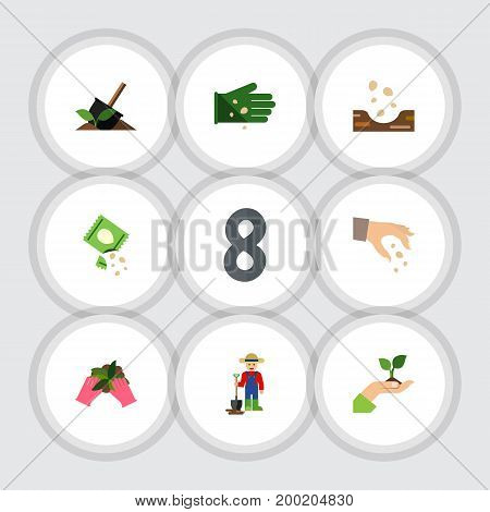 Flat Icon Sow Set Of Care, Soil, Plant And Other Vector Objects