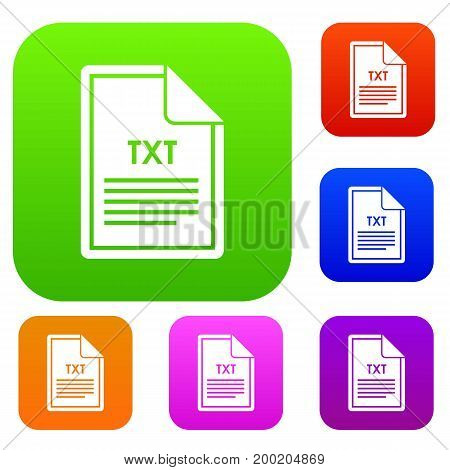 File TXT set icon in different colors isolated vector illustration. Premium collection