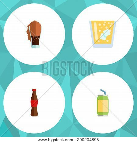Flat Icon Soda Set Of Juice, Soda, Lemonade And Other Vector Objects
