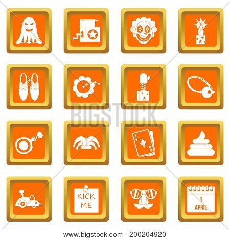 April fools day icons set in orange color isolated vector illustration for web and any design