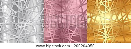 Abstract gold silver and rose gold lines futuristic overlap background. Vector illustration digital connection