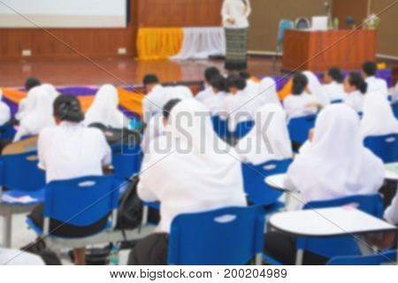 blur of student Muslims and teacher seminar in the lecture room with copy space add text