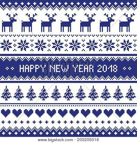 Happy New Year 2018 - Scandinavian cross stitch pattern - ugly Christmas pattern style