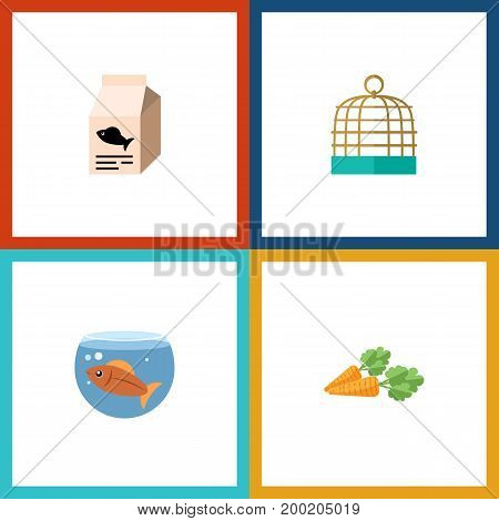 Flat Icon Animal Set Of Root Vegetable, Bird Prison, Fishbowl And Other Vector Objects
