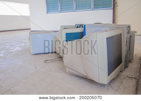 computer garbage electronic old technology dirty which has pollution with copy space add text