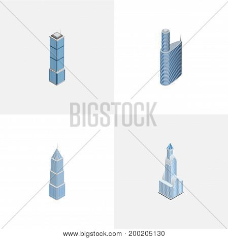 Isometric Construction Set Of Cityscape, Building, Apartment And Other Vector Objects