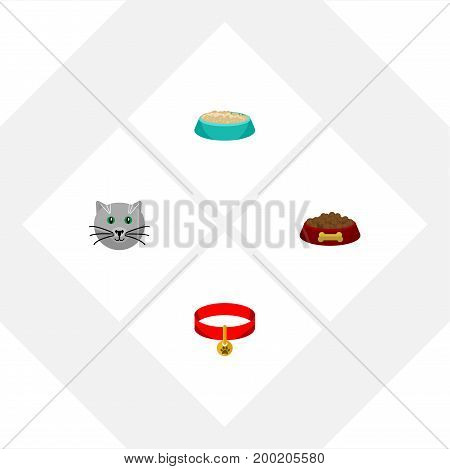 Flat Icon Pets Set Of Kitty Collar, Dog Food, Kitty And Other Vector Objects