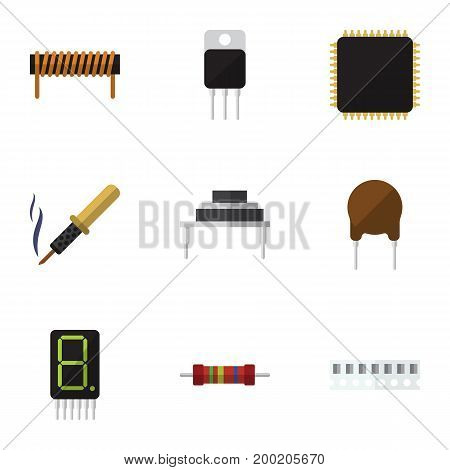 Flat Icon Electronics Set Of Calculate, Triode, Memory And Other Vector Objects