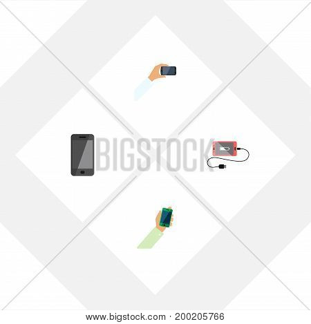 Flat Icon Touchscreen Set Of Smartphone, Telephone, Keep Phone And Other Vector Objects