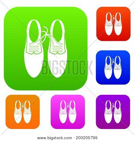 Tied laces on shoes joke set icon in different colors isolated vector illustration. Premium collection