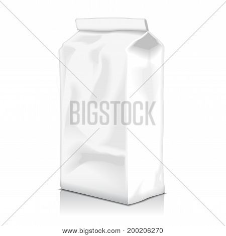 Blank Paper Food Bag Package Of Coffee, Flour, Sugar, Pepper, Snacks Or for Takeaway food. Vector Mockup Template For Product Pack for your design
