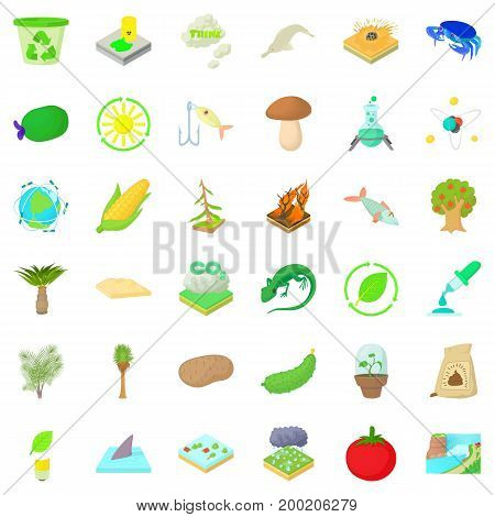 Nature biology icons set. Cartoon style of 36 nature biology vector icons for web isolated on white background