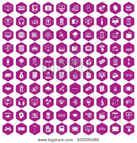 100 website icons set in violet hexagon isolated vector illustration