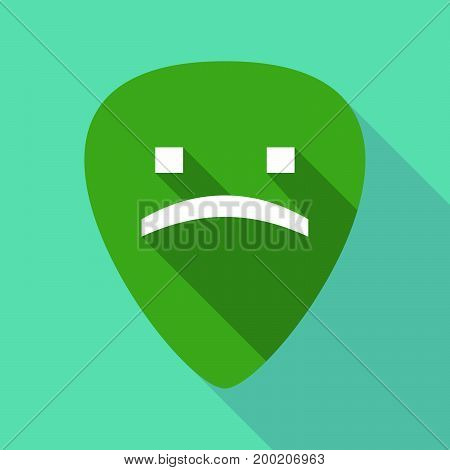 Long Shadow Plectrum With A Sad Text Face