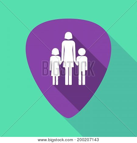 Long Shadow Plectrum With A Female Single Parent Family Pictogram