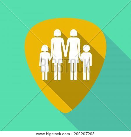 Long Shadow Plectrum With A Lesbian Parents Family Pictogram