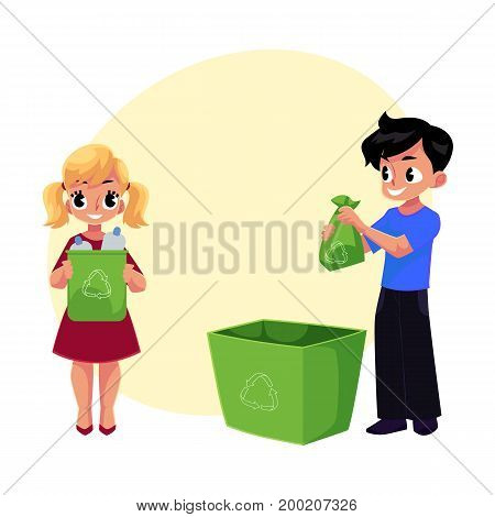 Kids, boy and girl, throw plastic bottles in trash, garbage recycling concept, cartoon vector with space for text. Two kids, children with plastic bottles, garbage collection