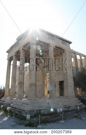 Morning Greek temple. Athens, travel in Greece.