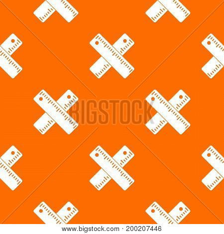 Two crossed rulers pattern repeat seamless in orange color for any design. Vector geometric illustration
