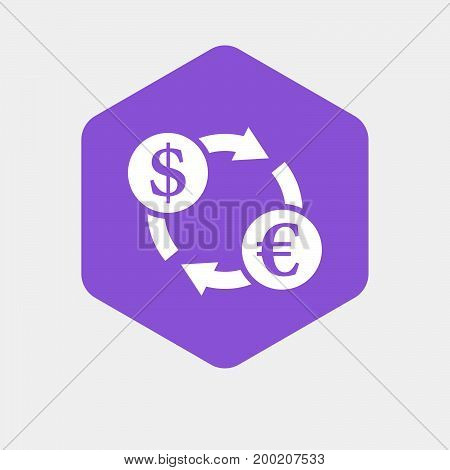 Isolated Hexagon With A Dollar Euro Exchange Sign