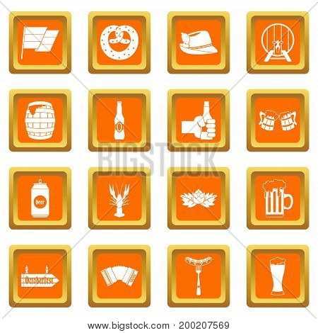 Oktoberfest icons set in orange color isolated vector illustration for web and any design