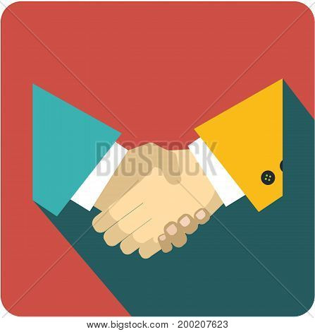 Vector business sign square shape icon handshake cooperation