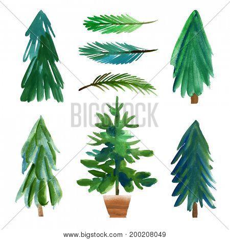 Set of watercolor Christmas trees