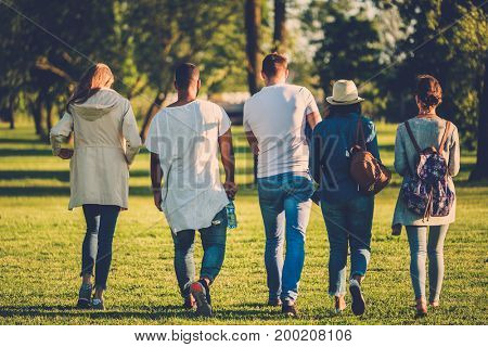 Multi-ethnic group of friends in a park