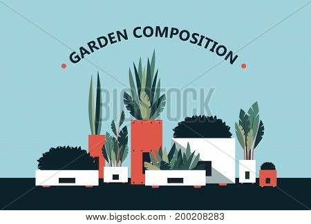 Vector illustration of decorative flowers composition background