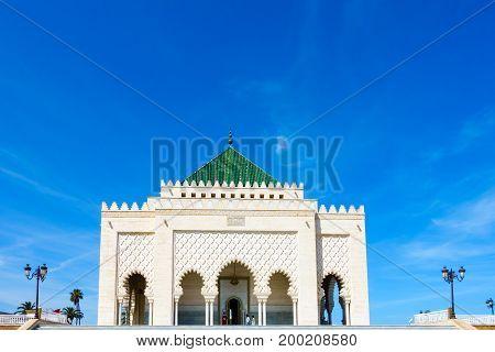 Closeup of the Mohammed V Mausoleum Rabat Morocco.