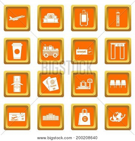 Airport icons set in orange color isolated vector illustration for web and any design