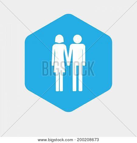 Isolated Hexagon With A Heterosexual Couple Pictogram