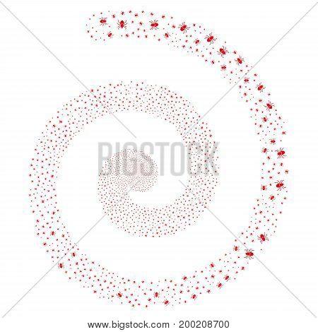Mite salute concentric spiral. Vector red random design elements.