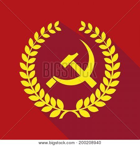 Long Shadow Laurel Wreath With  The Communist Symbol