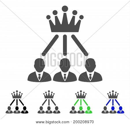 Administration Crown flat vector pictograph. Colored administration crown, gray, black, blue, green pictogram versions. Flat icon style for web design.