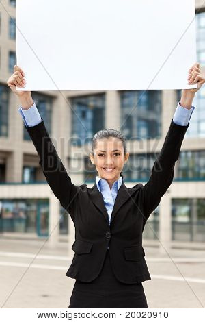 Business Woman Outdoor With Blank Paper
