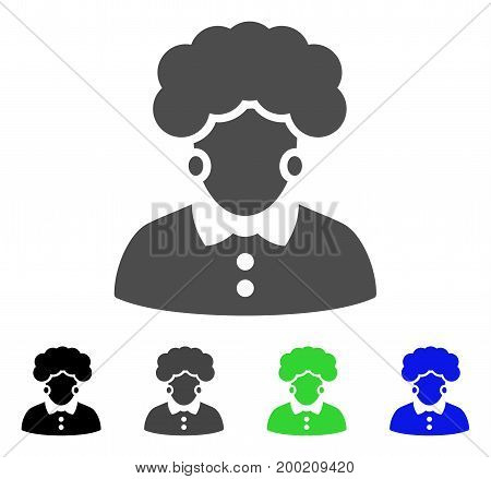Brunette Woman flat vector pictogram. Colored brunette woman, gray, black, blue, green icon versions. Flat icon style for web design.