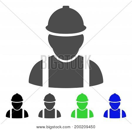 Builder flat vector illustration. Colored builder, gray, black, blue, green pictogram versions. Flat icon style for graphic design.