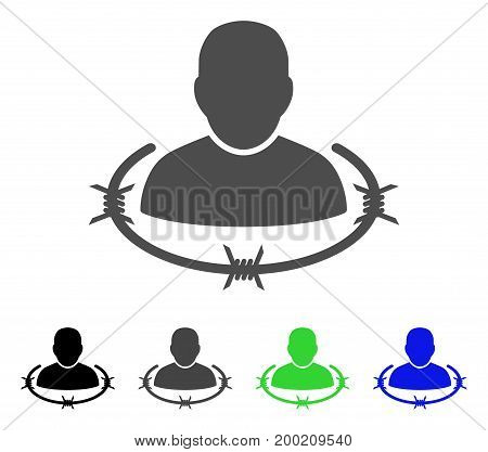 Captured Man flat vector pictograph. Colored captured man, gray, black, blue, green pictogram variants. Flat icon style for web design.