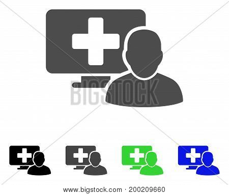 Computer Doctor flat vector icon. Colored computer doctor, gray, black, blue, green icon versions. Flat icon style for web design.