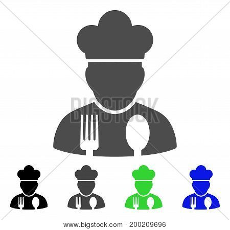 Cook Profession flat vector pictogram. Colored cook profession, gray, black, blue, green pictogram versions. Flat icon style for graphic design.