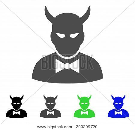 Devil flat vector illustration. Colored devil, gray, black, blue, green pictogram versions. Flat icon style for application design.