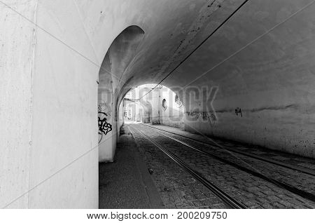 Tunnel for tram in Prague. Black and white picture.
