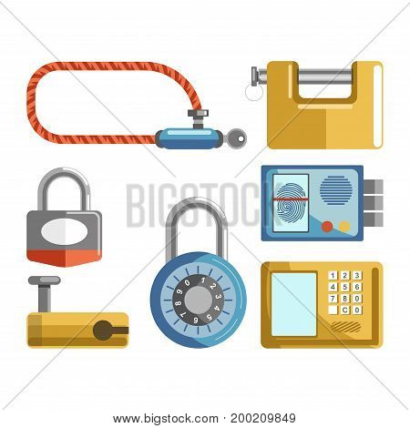 Door locks different types of electronic security code and fingerprint access digital padlock, bicycle bike lock with key and door latches. Vector isolated retro vintage and modern flat icons set of