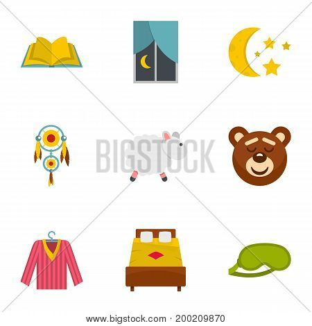Time to sleep icon set. Flat style set of 9 time to sleep vector icons for web isolated on white background
