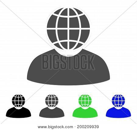 Global Politician flat vector pictogram. Colored global politician, gray, black, blue, green pictogram variants. Flat icon style for graphic design.