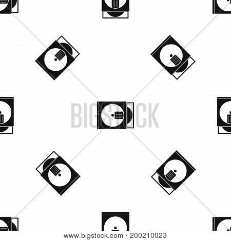 CD box with disc pattern repeat seamless in black color for any design. Vector geometric illustration